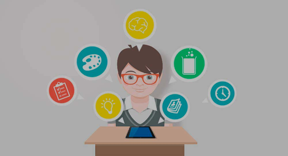 ilustración de un profesor con apps a su alrededor