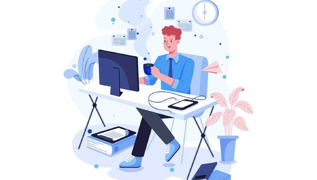 Ilustración hombre trabajando en negocio online