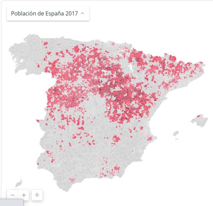 mapa para vivir en pueblos pequeños